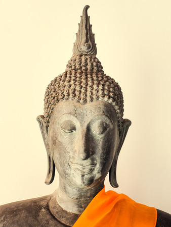 public domain: Buddha Statue on white background, Bangkok, Thailand. Generally in Thailand, any kinds of decorated in Buddhist church, etc. they are public domain of Buddhism