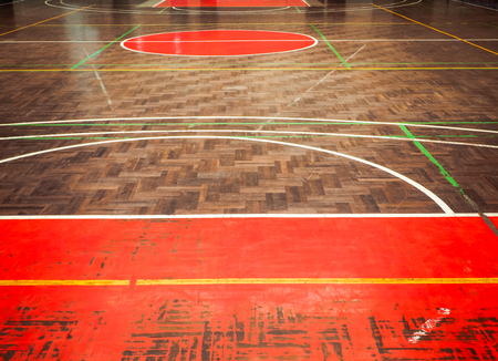 sport hall: Concrete sport parquet court in sport Hall , This image background for sport concept