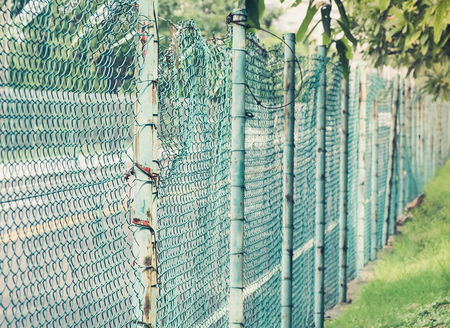 netting: Blue fence mesh netting, Private property, Selective focus