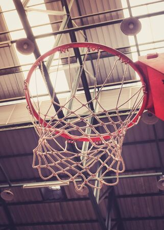 sport hall: Close up of Basketball Hoop in Sport Hall, Retro color filter