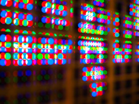 Photo technique image Abstract colorful blur de focused of RGB led screen background, Digital art concept Stock Photo