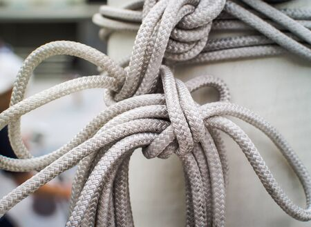 fixed line: Close up of white rope And Knot, Concept and idea image