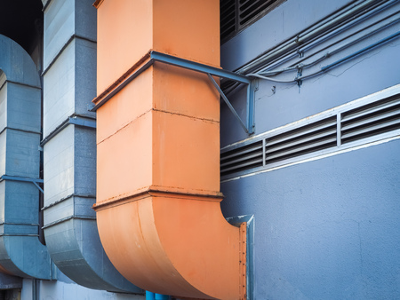 aeration: Industrial ventilation and air conditioning pipe installed outside the building (industrial, warehouse, pipeline) Stock Photo