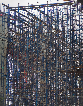 metal structure: Iron construction scaffolding. Building new construction
