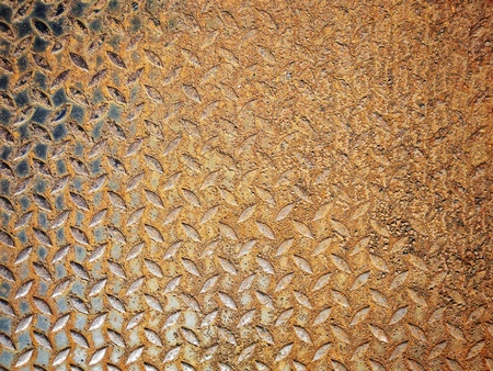 Rusty weathered metal diamond plate,Used for textured and background Stock Photo