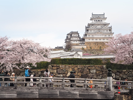 Himeji, Japan - April 10, 2017 : On the day of cherry blossoms in full bloom at Himeji-Jo Castle, In the first week of April every year is the time of cherry blossom viewing season. 報道画像