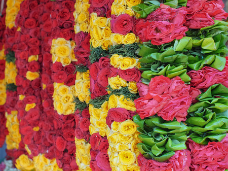 Flower garlands for Hinduism and Buddhism religious ceremony, Selective focus Stock Photo
