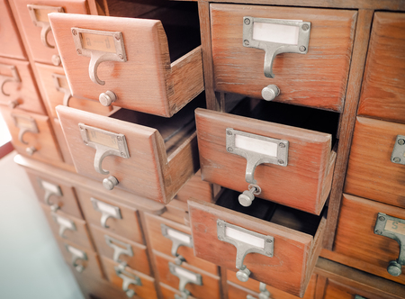 wooden boxes for index cards in library, Selective focus and Close up image
