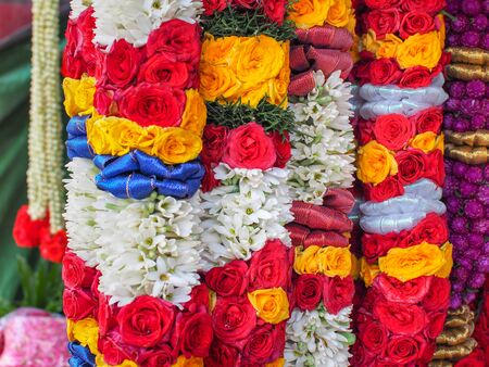 Flower garlands for Hinduism and Buddhism religious ceremony, Selective focus Stock fotó