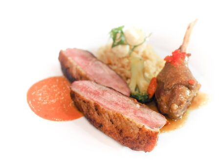Roasted duck or goose served with fried rice and chili sauce or tomato sauce on white plate, Modern fusion cuisine.