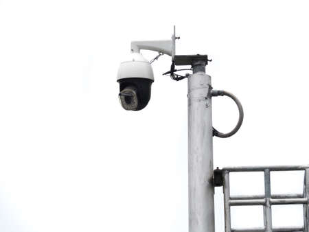360 Degree fish eye dome CCTV is installed on white background. CCTV for security monitoring.