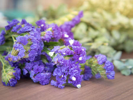 Purple satirist flowers on wooden table. Close up. Standard-Bild