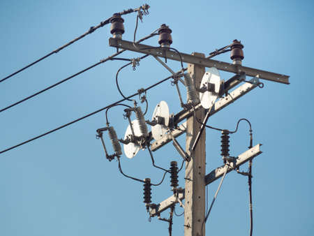 Electric Pole With Electric Transformers And Electrical Cables In Bangkok City, Thailand