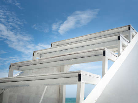 White wooden steps up to the sky. Standard-Bild