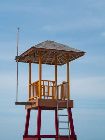 Beach guard tower installed on the sandy beach for the safety of tourists.