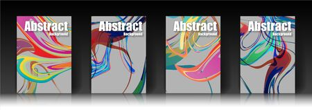 Abstract cover pictures, colorful, flashy, watercolor patterns, placement,the amount of four covers