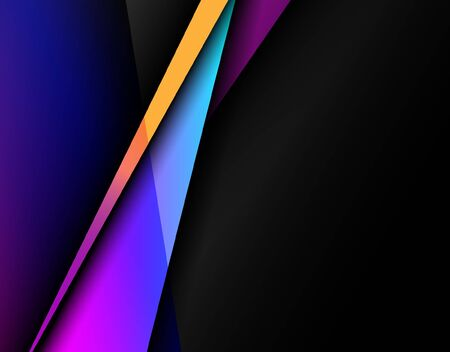 Abstract image of color contrasting with black background. Vector