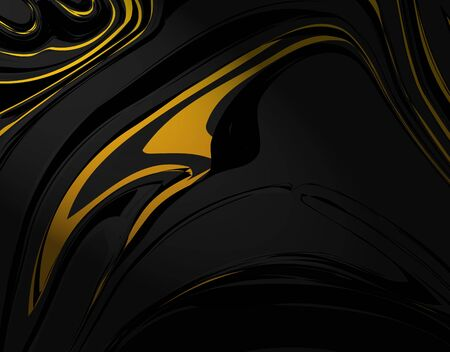 Abstract images of golden distorted lines on a black background. vector