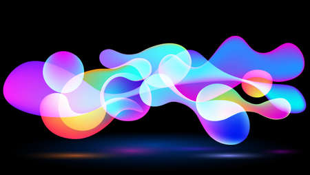 An abstract image of a balloon with differently colored, rounded, bright and bright colors floating above a black background.
