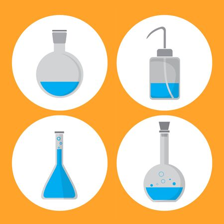Set of filled glassware, flask, bottle in lab. Stock Photo