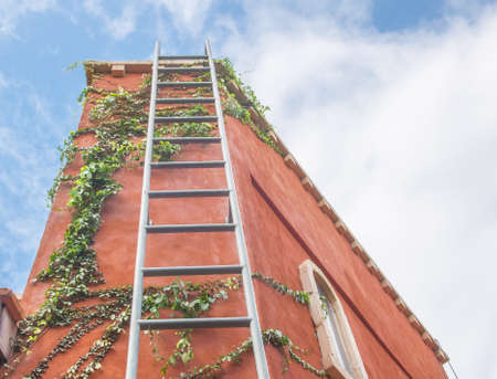 mountaintop: Ladder to success Stock Photo