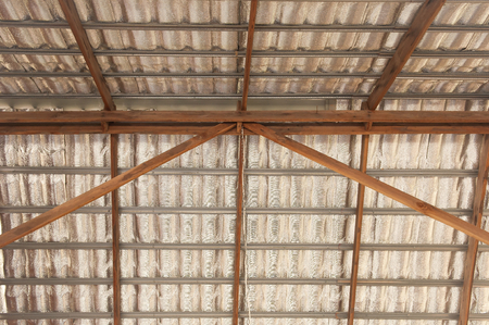wood ceiling: insulation roof structure Stock Photo