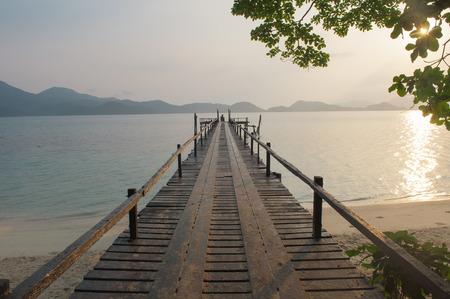 Bridge to the sea in the morning photo