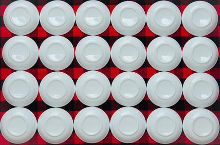 overturned overturn: Overturned plates on fabric