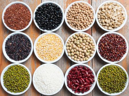 black rice: Multicolored beans in ceramics bowl Stock Photo