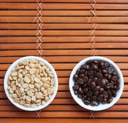 White and black  arabica coffee beans photo