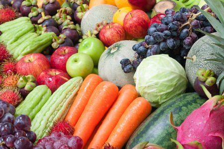 healthy lifestyle: Mixed fruits and vegetables Stock Photo
