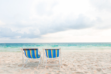 long weekend: Two chair for relaxation at the beach