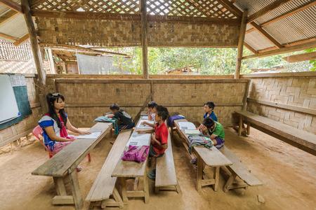 BAN NAI SOI, MAE HONG SON PROVINCE, THAILAND - OCTOBER 21: Learning and Teaching For disadvantaged students In rural areas Mae Hong Son province, October 21, 2014.