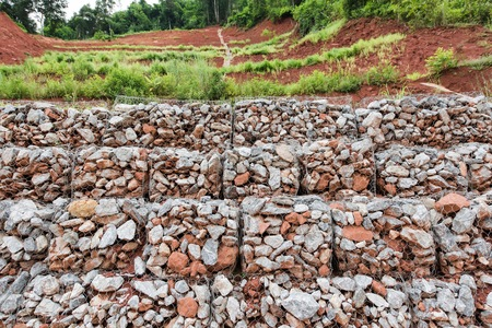 gabion mesh: Gabion wall Stock Photo