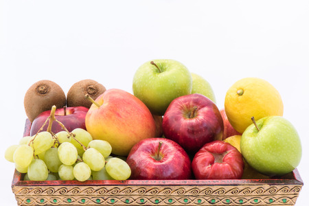 Group fruits on Wooden Tray photo
