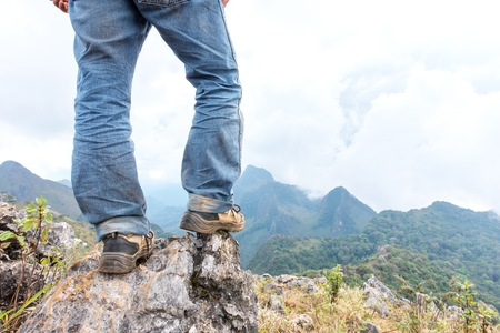 hiking shoes: Hiking shoes on the summit mountains