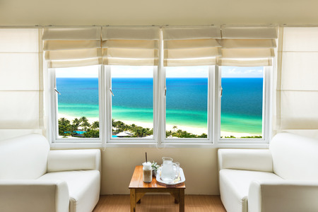 drawing room: Living room near the beach and looked out of high angle view Stock Photo