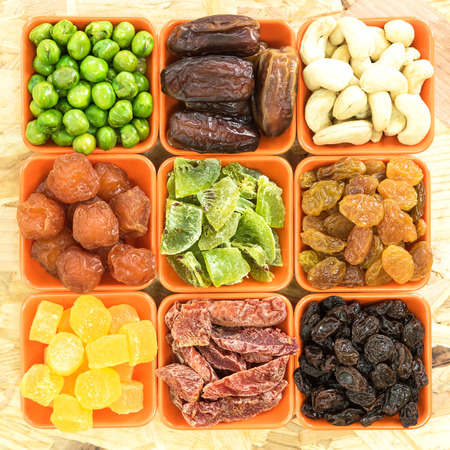 spoilage: Dried fruits in a ceramic bowl Stock Photo