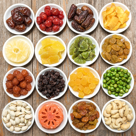 Collection of dried fruits background