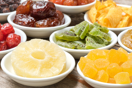 spoilage: Close-up dried pineapple and group fruits Stock Photo