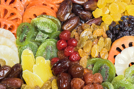 dried fruits: Dried fruits collection background Stock Photo