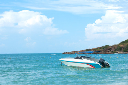 fibreglass: Speed boat at the tropical beach