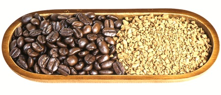 granules: Coffee bean and granules coffee isolated