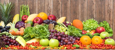 Large group of tropical fruits and vegetables organics