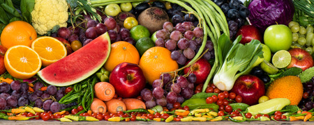 Large group of fresh fruits and vegetables