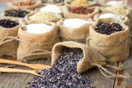 dry food: Close up rice berry in burlap bag