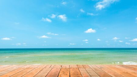 sea scene: Wooden platform beside tropical beach at Koh Chang islandThailand