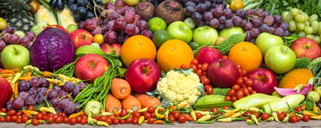 Group of fresh fruits and vegetables organics