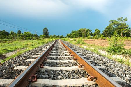 metal construction: Railroad landscape Stock Photo