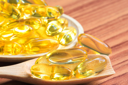 cloesup: Cloes-up fish oil capsules Stock Photo